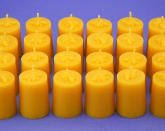 24 Honey Bee Candles, Beeswax Candles, 1.5 x 2.25 Beeswax Votives, Pure Bees Wax Candles, Honeybee Candles, Wedding Candles, Table Candles