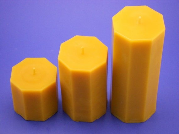 Beeswax Candles, 3.2 x 3 and 3.2 x 5 and 3.2 x 8, Set of 3 Octagon Pillar Candles, Canadian Beeswax Candles, Pillar Candle Collection