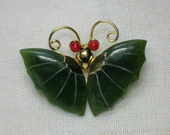 Butterfly Brooch & Pendant, Nephrite Jade, Red Glass. 1980s Retro era