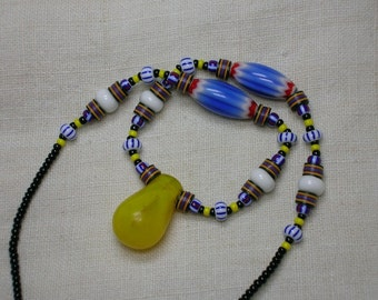 African Trade Beads Necklace, Vintage & Antique, Chevron, Striped, Record. Boho Tribal