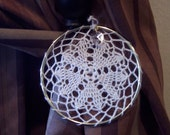 4 inch Eye-catching crochet window hanging with small crystal