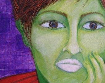 Colorful portrait of woman OOAK