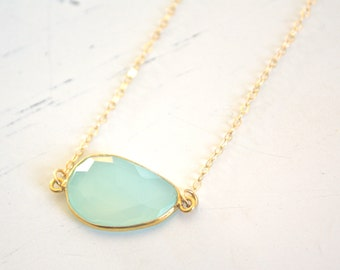 Gold Necklace, Chalcedony Necklace Aqua Chalcedony Necklace, Dainty Gold Necklace, Bridesmaid Necklace, Christmas Gift, Best Friend Gifts
