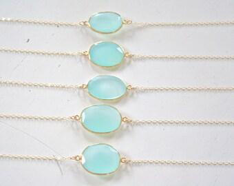 Set of 5 Necklaces, Mint Necklace, Beach Wedding Bridesmaid Gift Bridesmaid necklace Light Blue Wedding Birthday Gift, Gold Necklace Aqua