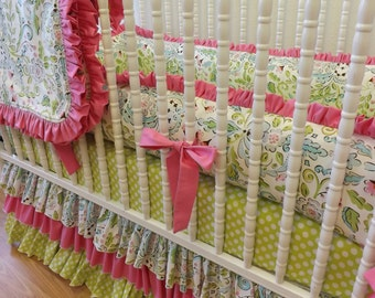 Girl Crib Bedding- Baby Bedding- Lovebird Damask Baby Bedding- MADE TO ORDER- Crib Bedding Set