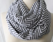 Infinity Scarf Chevron - Black and White Thin Chevron - Circle Scarf
