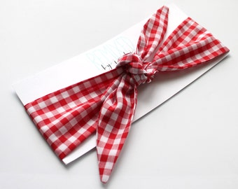 Red Gingham Head Scarf - Headband