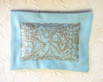 Lavender Sachet, Antique/ Old World Map on Blue Linen (Gifts under 10 dollars) -Fresh Dried Lavender