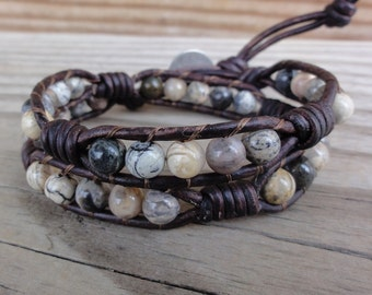 Leather Wrap Bracelet Silver Leaf Jasper Beaded Double with Coil Knots