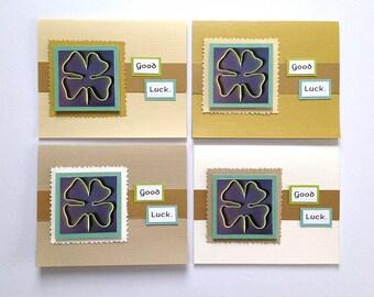Shamrock Shoestring Good Luck Handmade Note Cards - Set of 4 - Running Inspired Greetings, Four-Leaf Clover - Encouragement Notes