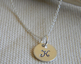 Personalized Tiny Monogram Necklace Sterling Silver Initial Disc Charm Necklace-Small Initial Letter Charm-Bridesmaids Gift