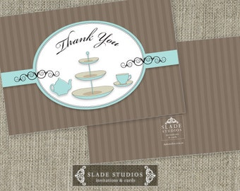 Bridal Tea - Bridal Shower traditional Thank you Cards Printable. Available for download TODAY.
