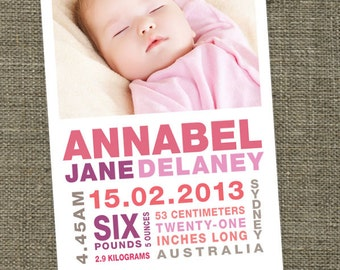 Baby birth announcement subway art photo cards for baby boy or baby girl. Printable.