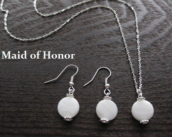 pearl necklace, pearl earrings, mother of pearl jewelry, maid of honor jewelry, bridal pearl earrings,bridal earrings, wedding pearl jewelry