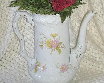 European Coffee Pot or Vase Vintage ON SALE Porcelain Delicate Floral Pattern Ornate Design