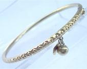 Vintage Thai Gold Bracelet 23K Gold Bracelet Gold Bangle Vintage Thai Bangle Bell Charm Heart Gold Charm Vintage Gold Bracelet Thai Baht Gol