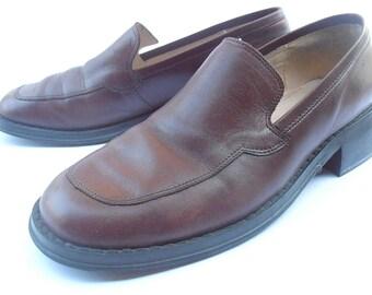 Vintage Maroon Flat Shoes Oxblood Loafers Burgundy Slip Ons Leather Burgundy Shoes Leather Ladies Womens Shoe Size 7.5 EU 38