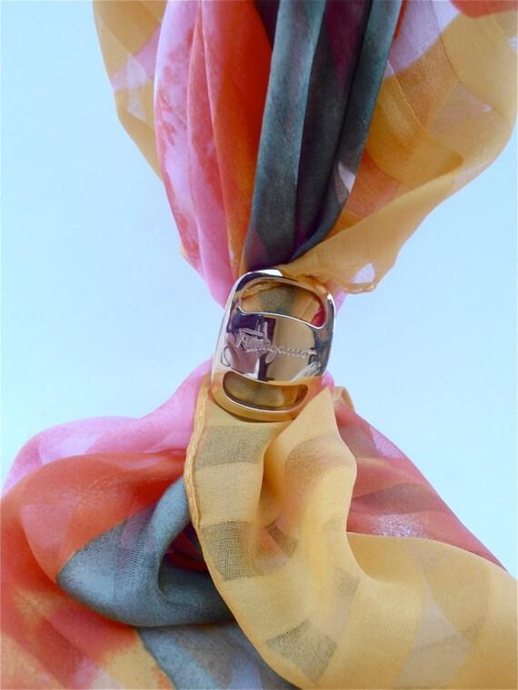 Vintage Ferragamo Scarf Ring Vara Buckle by VillaCollezione