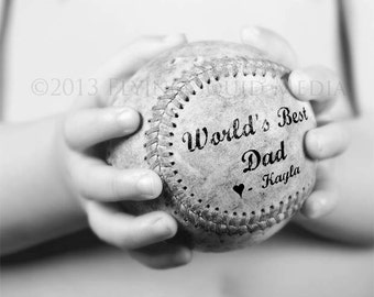 Personalized Father's Day Gift: Baseball Photo Print Featuring Your Message to Dad - Gifts for Dad - From Kids - Sports Gifts - Sport Decor