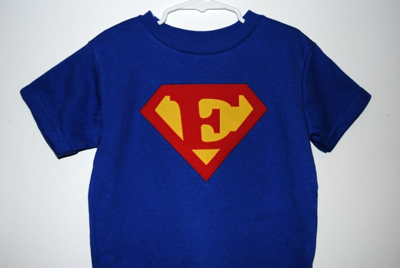 Custom Initial Superhero Shirt - Children's Sizes - Clothing Applique - Blue Only