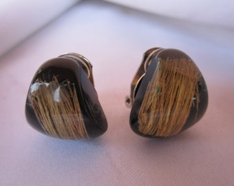 Tiger eye color acrylic clip fashion style earrings