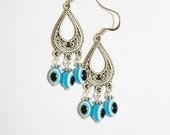 Evil eye earrings, evil eye jewelry, evil eye dangle earrings