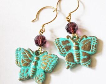 Butterfly earrings, dangle earrings, charm earrings, patina