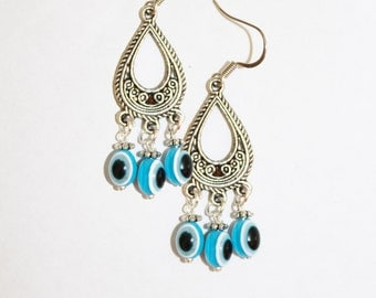 Evil eye earrings, evil eye jewelry, evil eye dangle earrings