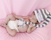 Crochet Hat Pattern - Newborn munchkin hat AND Diaper Cover Photo Prop