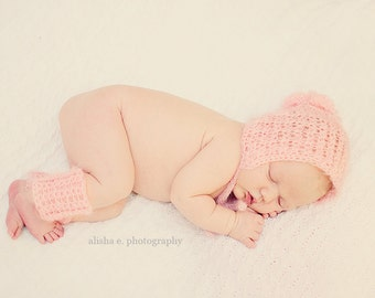 Newborn Lace Bonnet Set - CROCHET PATTERN - Photo Prop Pattern - Rosebud
