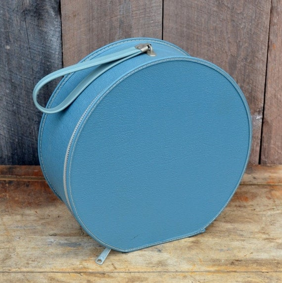 Round Blue Hat Box Small Travel Case By Relicsandrhinestones