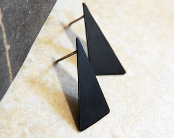 Oxidized Black Copper Triangle Post Stud Earrings - Patina - Handcrafted Minimal Design