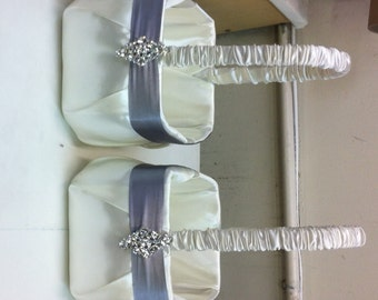 Ivory with Silver  Satin  Flower Girl Baskets set of 2
