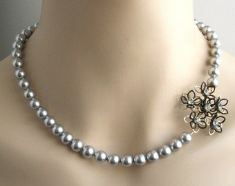 Statement pearl flower necklace, asymmetrical vintage brooch bridal jewelry, gray silver Christmas gift Vintage wedding LAST ONE