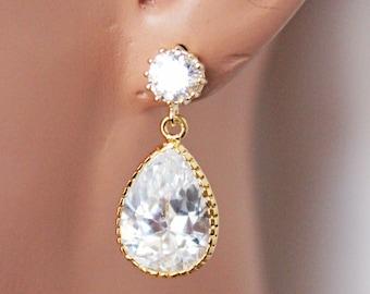 Vintage Cubic Zirconia Pear Drop Wedding Earrings, Gold Bridal Earrings, Simple Everyday Jewelry, Bridesmaid Earrings