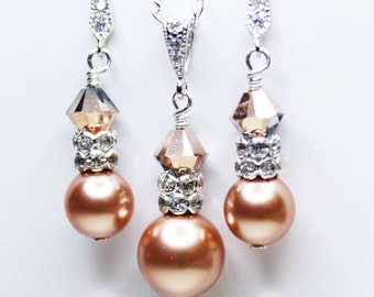 Wedding Earrings and Necklace Set, Crystal Rose Gold Pearl Pendant, Bridesmaids Jewelry Set