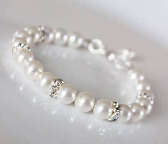 Wedding Pearl Bracelet,  Bridesmaids Pearl Bracelet, Rhinestone and Pearl Bridal Bracelet, Simple Classic Wedding Jewelry