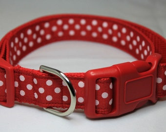 "Red and White Polka Dot Ribbon 1"" Dog Collar Size M or L"
