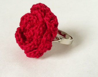 Crocheted Red Rose Ring / Adjustable
