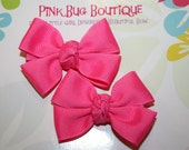 Boutique Neon Pink Hair Bow Pair