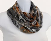 Rich Infinity Scarf - Shades of Gray and Taupe with a hint of Goldenrod ~ K068-L5
