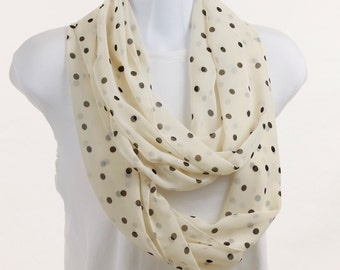 Infinity Scarf Black & Cream Polka Dots - Lovely Wide Sheer ~ SH112-L5