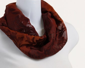 Elegant Infinity scarf - Rich Copper Floral BurnOut on a SHEER Background ~ SH169-S5