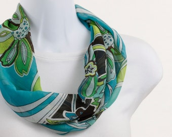Infinity Scarf - Shades of Turquoise, Tender Shoots Green, White and Dark Brown with Large Flowers ~ SH147-S1