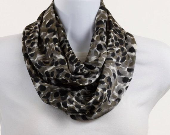 Silky Infinity Scarf Black, White, Gray, Golden Animal Print ~ SK039-L5