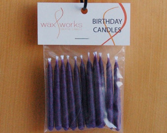Set of 12 Purple Soy Birthday Candles