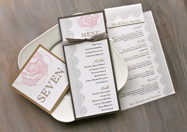 romantic wedding decor wedding menu card pink and gray