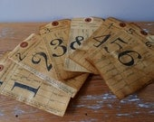 Distressed Antiqued Number Tags / Repurposed Industrial Inventory Tags / Set of Seven