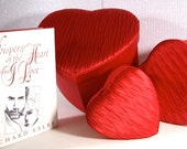 Love Poetry Book and Three Red Satin Hearts 1993