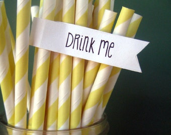 Pastel Yellow Paper Straws - Set of 25 Striped Drinking Straws With DIY Printable Straw Flag